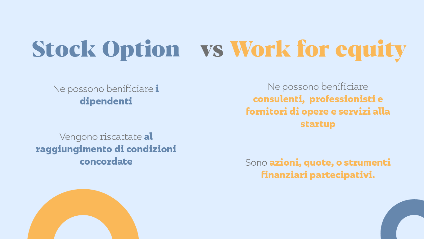 Differenze tra stock option e work for equity